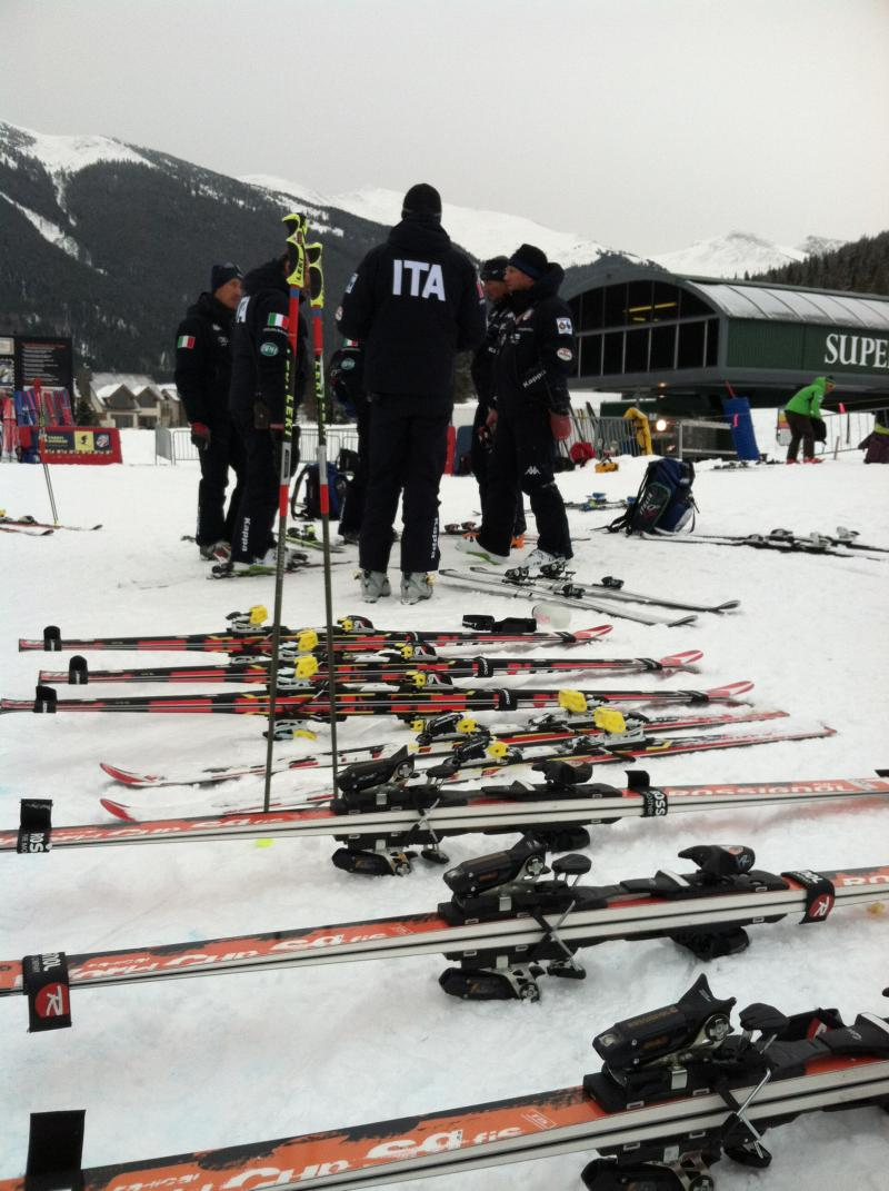 An Italian ski team gathers near skis at the base of the U.S. Ski Team's Speed Center in Copper.