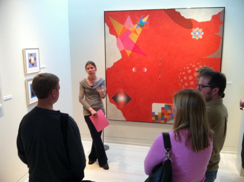 "Visitors to the Resnick Gallery at the Doerr-Hosier Center in Aspen take in Bayer's ""geometry of an illusionist."""