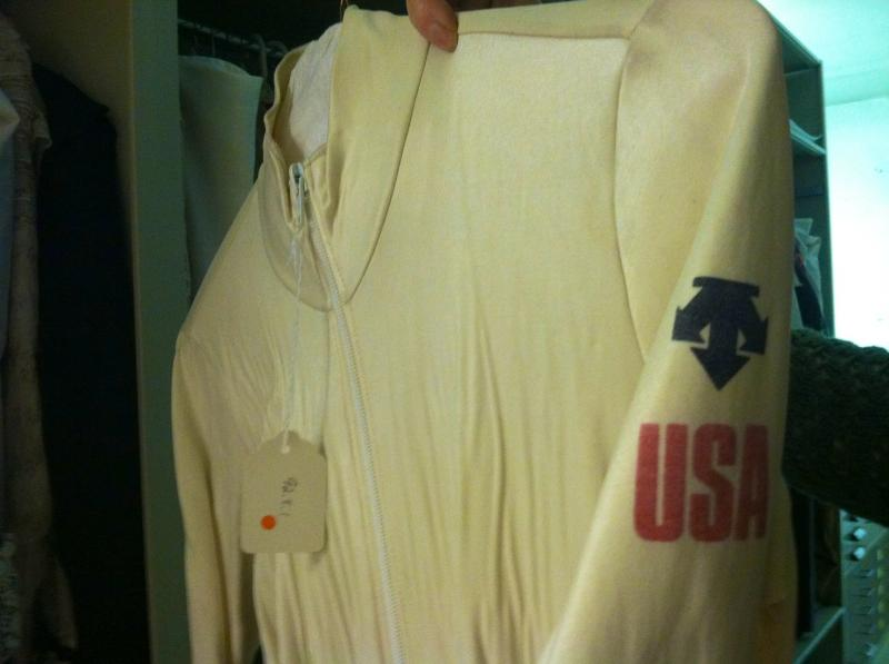 Ski racer Andy Mill's speed suit from the 1980 Olympic Games hangs in the basement of the Aspen Historical Society.