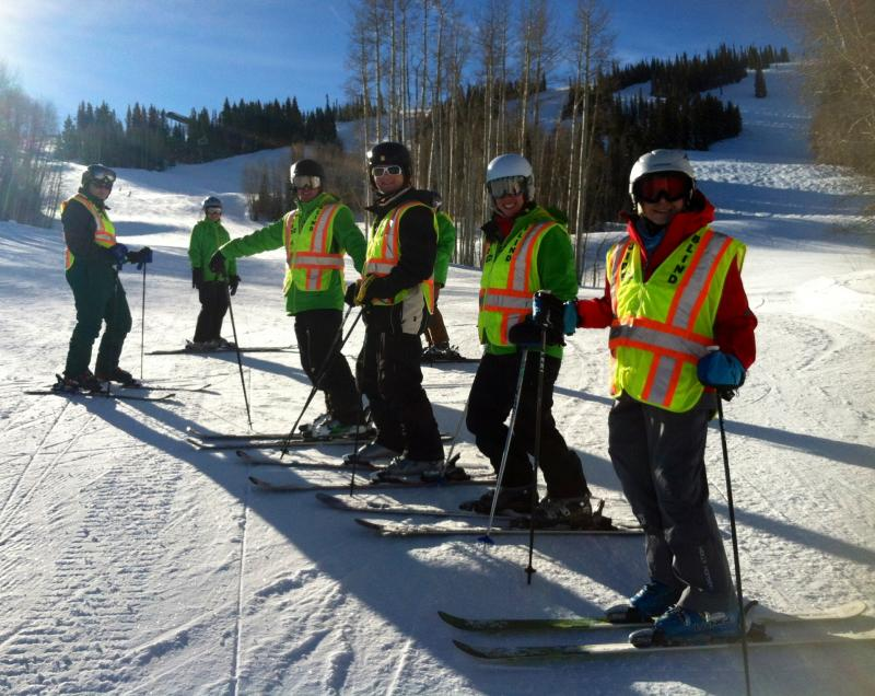 High school students from the Tennessee School for the Blind pose at Snowmass with their guides and instructors from Challenge Aspen.