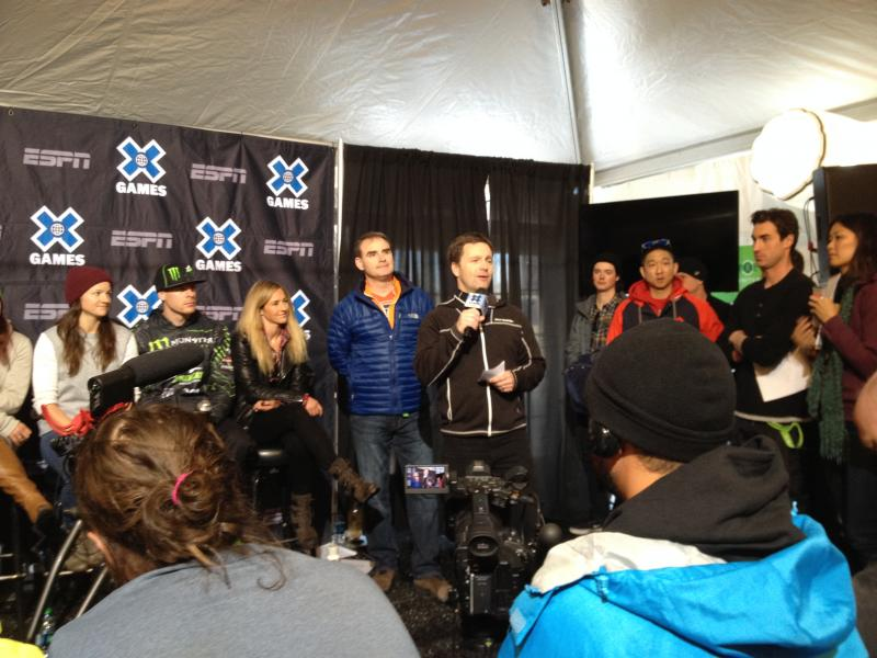 John Rigney of Aspen Skiing Company announces a new X Games contract, as ESPN's Scott Guglielmino and athlete Gretchen Bleiler look on.