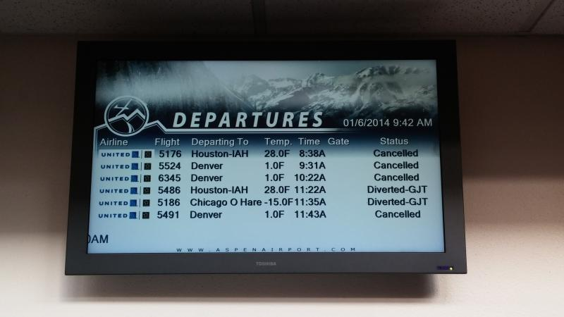 Departures Board at the Aspen Airport - January 6th, 2014