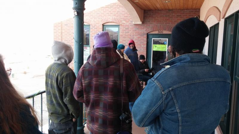 "Marijuana enthusiasts line up in front on ""Doctor's Garden"" on Wednesday January 15th, 2014"