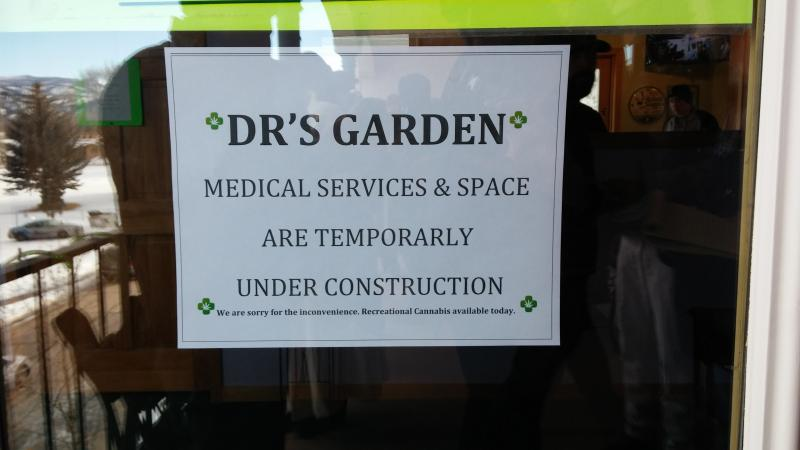 "Sign on the door of ""Doctor's Garden"" - Wednesday January 15th, 2014"