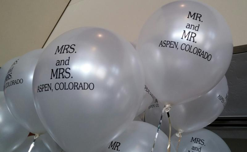 Ballons for the Civil Union Ceremony at the Limelight Hotel in Aspen, Colorado on January 18th, 2014