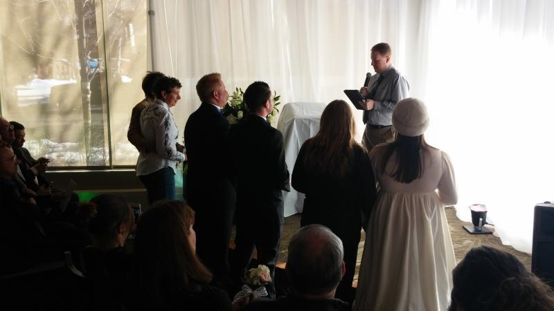 Couples ready to exchange vows during the Civil Union Ceremony at the Limelight Hotel in Aspen, Colorado on January 18th, 2014