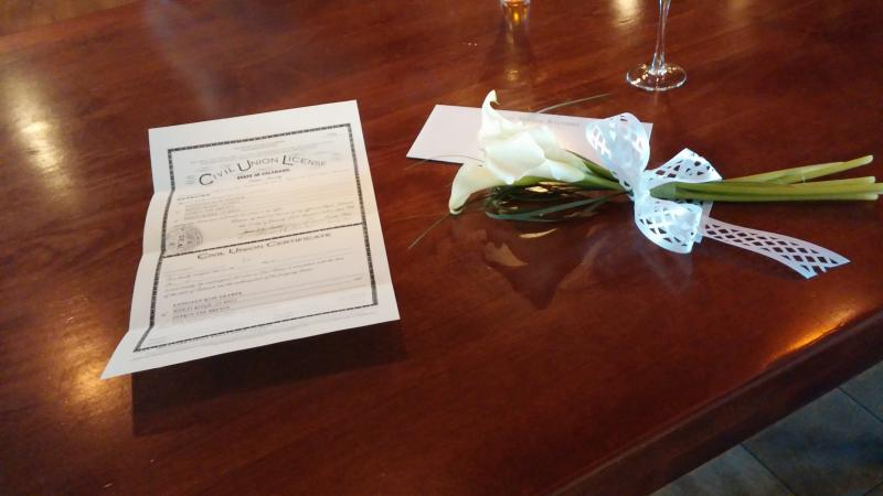 The Civil Union certificate at the Limelight Hotel in Aspen, Colorado on January 18th, 2014