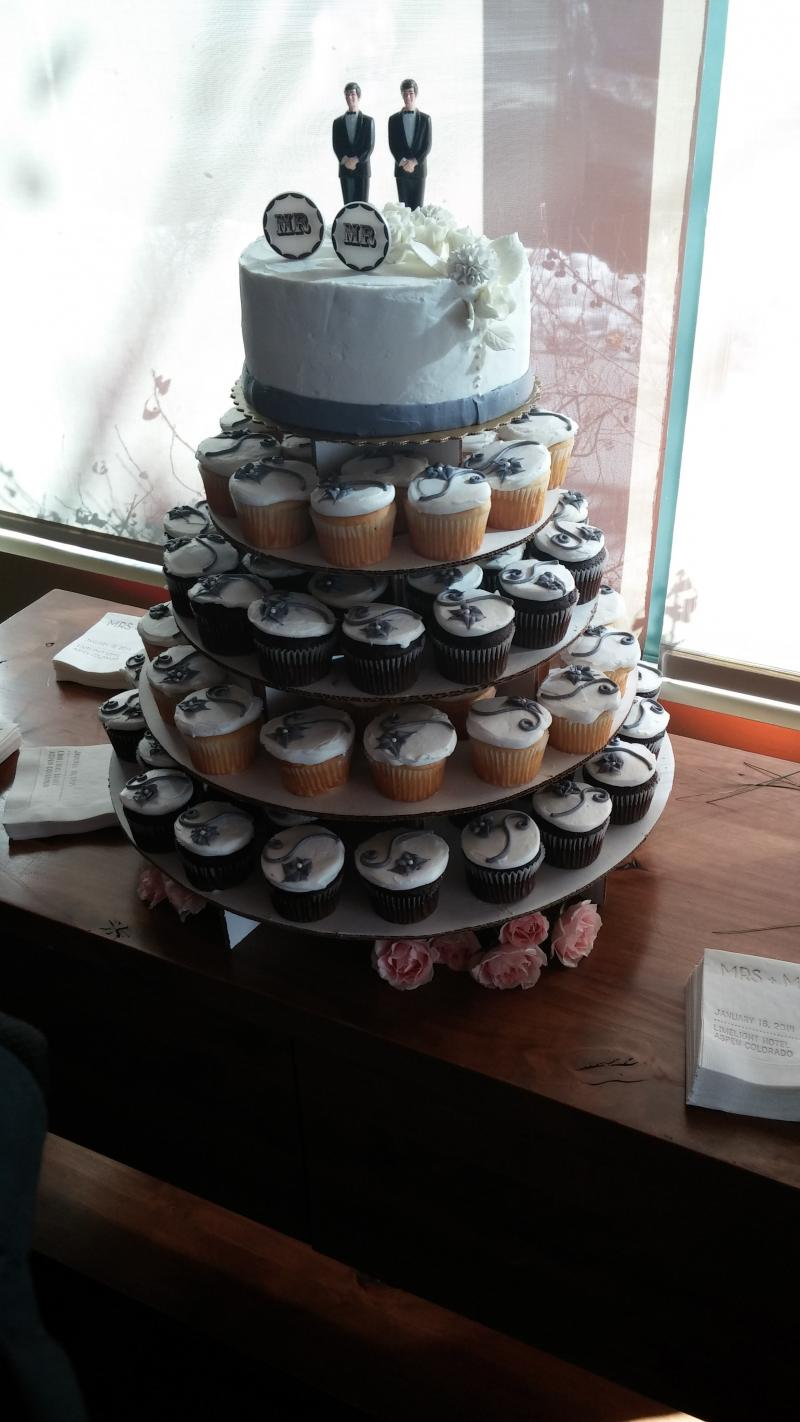 One of two cakes at the Civil Union ceremony at the Limelight Hotel in Aspen, Colorado on January 18th, 2014