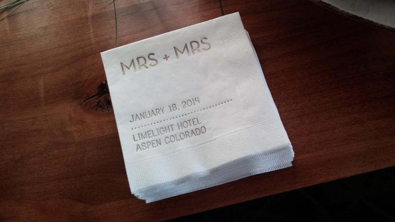 One of two sets of napkins at the Civil Union ceremony at the Limelight Hotel in Aspen, Colorado on January 18th, 2014