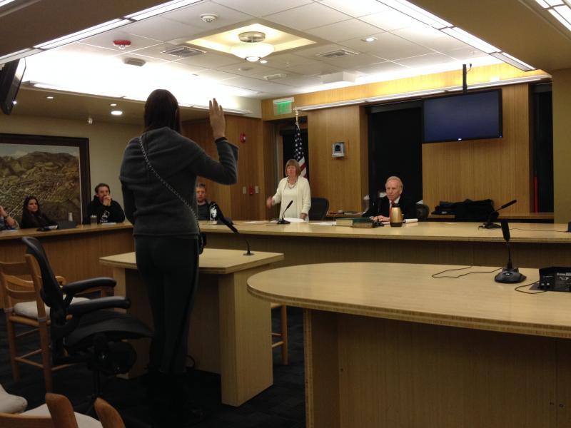 Natalia Shvachko takes the oath as a witness.