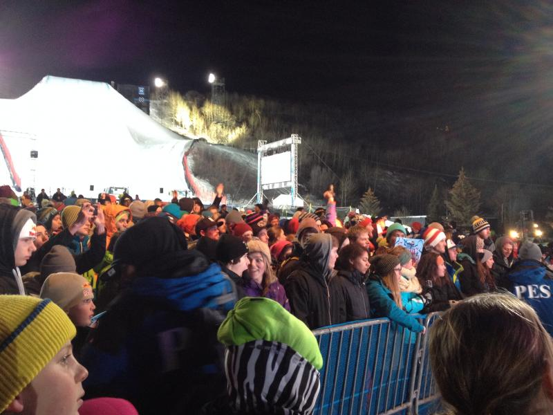 The party continues after the men's SuperPipe finals finish.