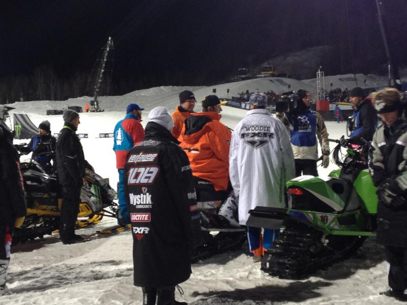 Sam Rogers crashed during the Snowmobile Freestyle.