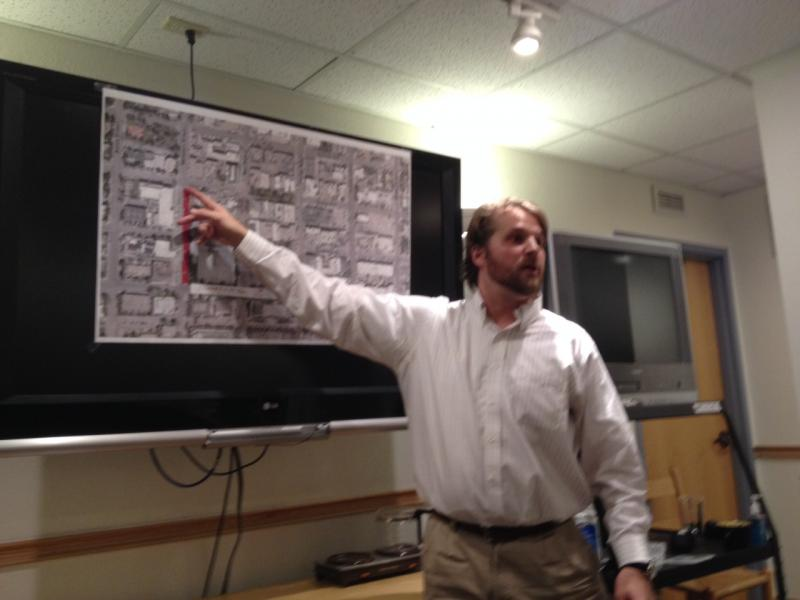Scott Kenner, Special Events Permit Coordinator with the City of Aspen, points to road closures during a January 6th meeting with business owners, city employees, and other community members.