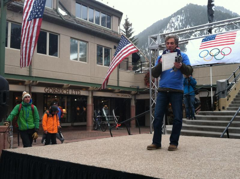 Aspen Mayor Steve Skadron reads a proclamation from the City.