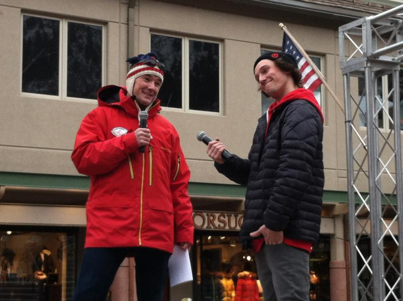 Olympian Chris Klug jokes with freeskier Torin Yater-Wallace. Yater-Wallace is heading to Sochi to compete.