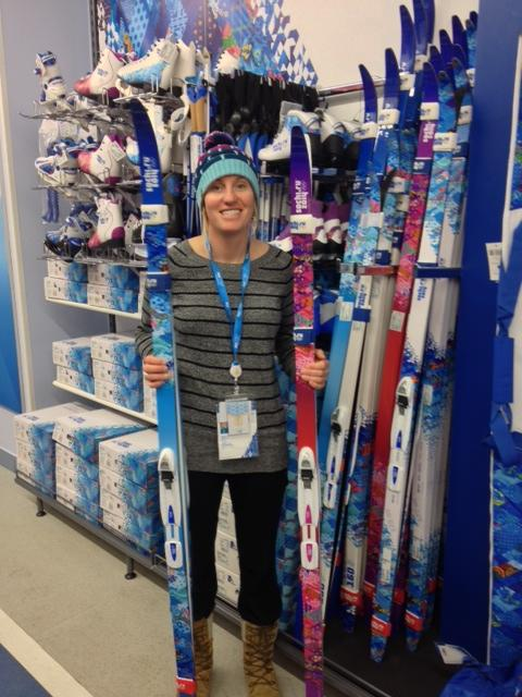 Jenny shopping for some Sochi 2014 sweeeeeet cross country skis.