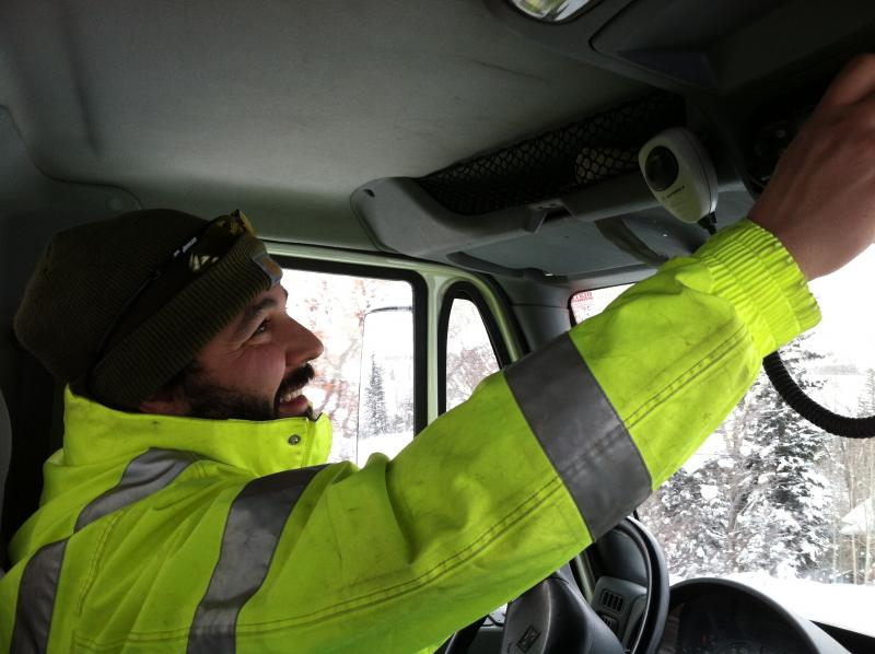 Scott Mattice drives snowplows for Pitkin County in the winter. Part of his job is responding to accidents and broken down vehicles.