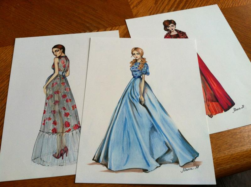 McFarland first sketched her dresses and then started sewing. The floor-length design is inspired by popular fashion in Russia, which is where McFarland is from.