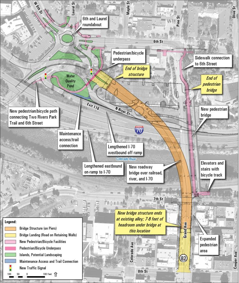 Proposed changes for new Grand Avenue Bridge and Interstate 70 interchange.