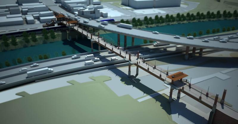 Proposed design for new Grand Avenue Bridge and pedestrian bridge.