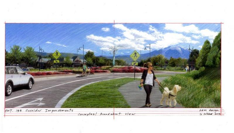 Rendering of Highway 133 and roundabout at intersection with Main Street.