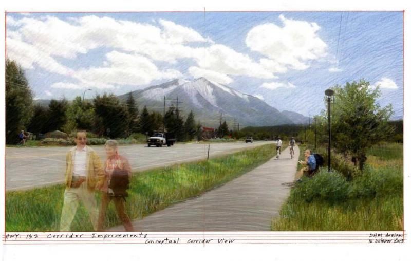 Design for Highway 133 in Carbondale, Colorado between intersections with Main St. and Highway 82.