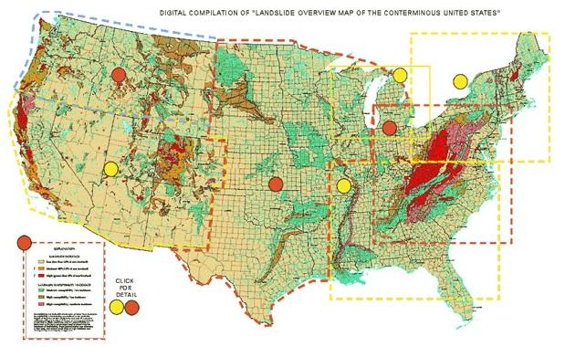 This map, put together by the USGS in 1982, shows which parts of the country are most prone to landslides. The areas shaded in red have the highest landslide incidence.