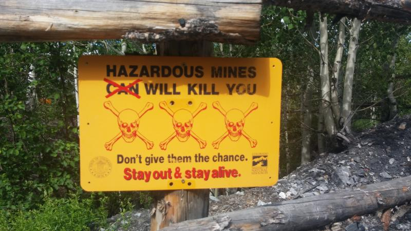 Warning Sign at old mine site on Smuggler Mountain.