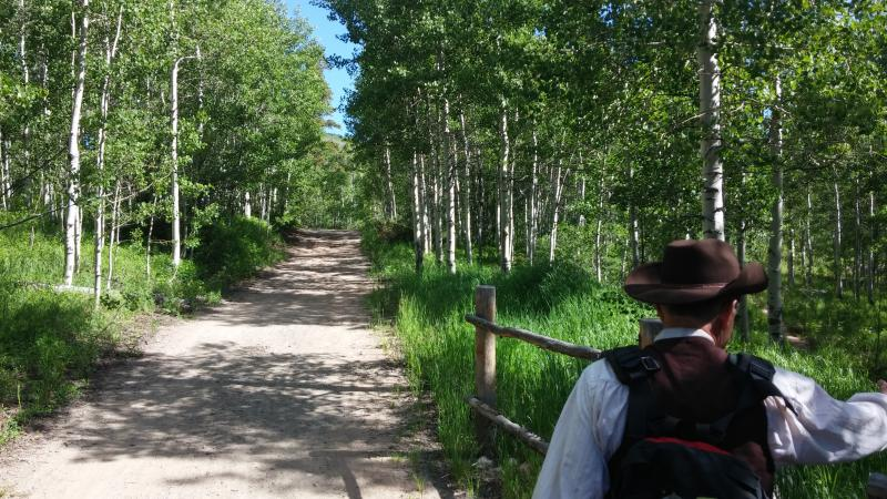 Heading down the trail with Aspen Historical Society's Mike Monroney.