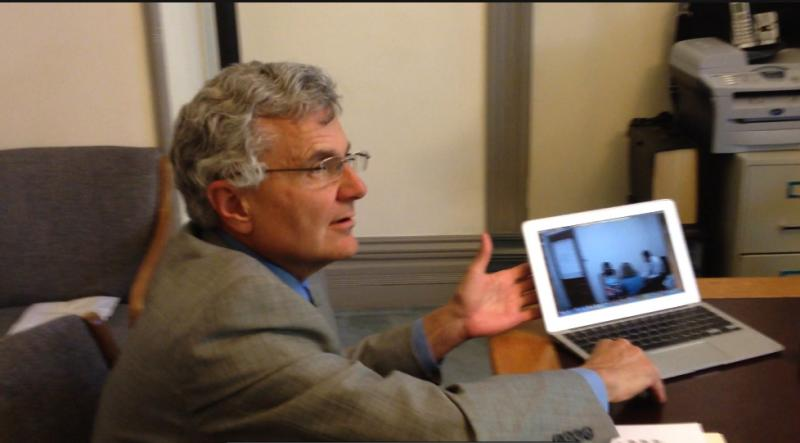 Greg Greer shows video of District Attorney investigator Lisa Miller and Colorado Bureau of Investigation agent John Zamora questioning Kathy Carpenter. June 20th, 2014.