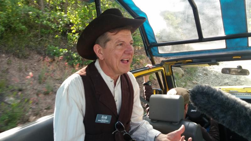 Aspen Historical Society's Mike Monroney in the Jeep.