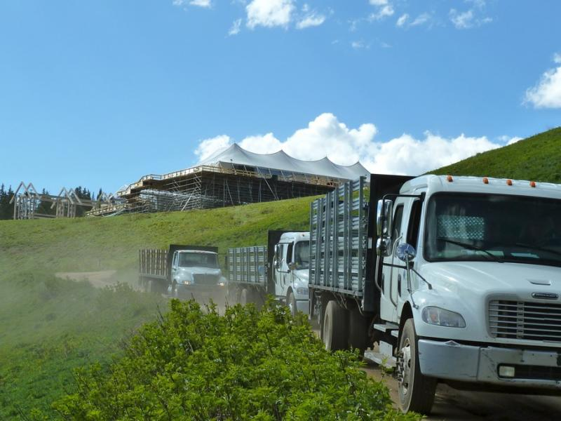 Several trucks hauled up materials for tents and flooring that covered 27,000 square feet.