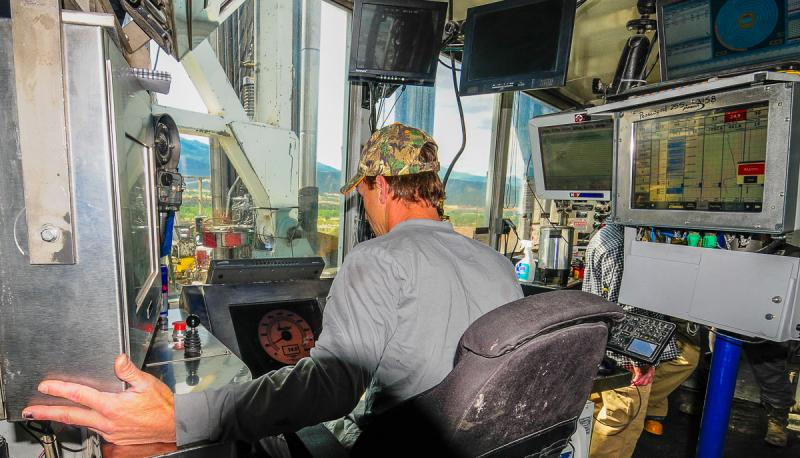 "Driller, David Duke, controls the drilling string and drilling bit thousands of feet below the surface.  He steers while monitoring pressures, torque, weight, distance, speed, and many more parameters from the ""dog house."""