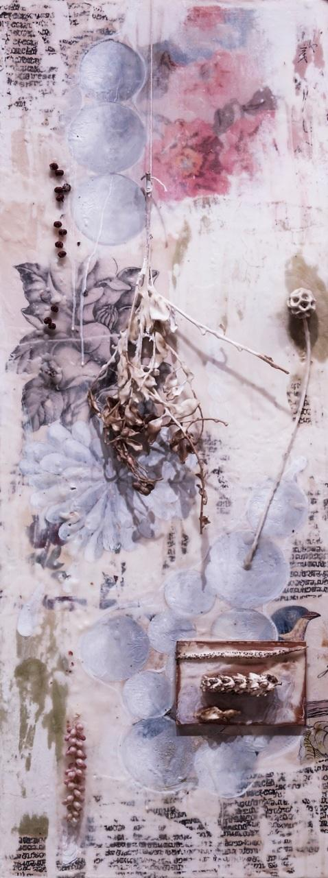 'scabiosa caucasica',  2014, collage, oil, porcelain, wax, resin, and  plant material on panel
