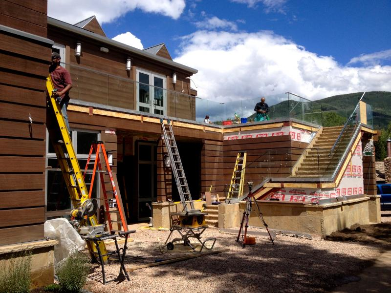 Workers put on the finishing touches on the new Aspen Jewish Community Center.