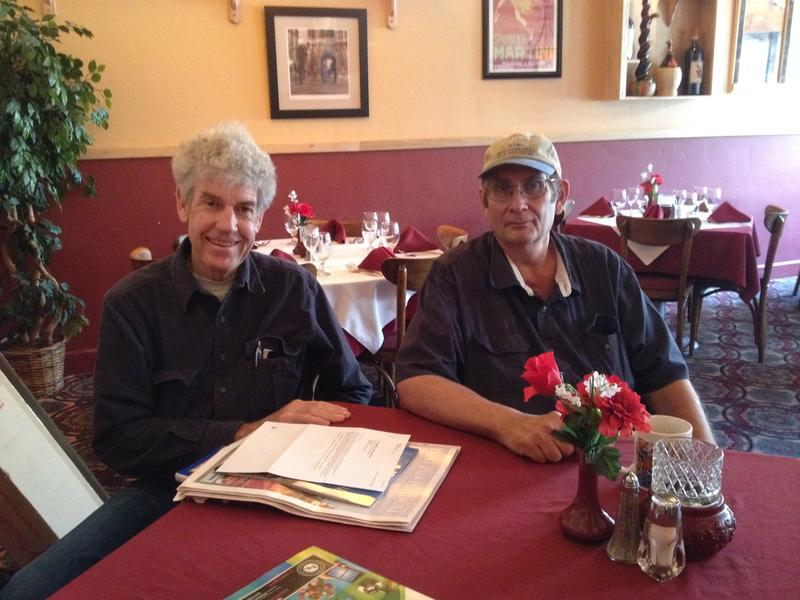 John Haines and Tony Rosa in Peppo Nino, next door to the Grand Avenue Bridge.