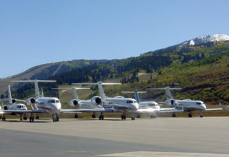 Jets lined up at the Aspen/Pitkin County Airport