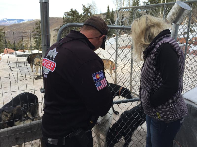 Danny and Gina Phillips check in with dogs waiting for adoption. Krabloonik has a new nine month adoption preparation program for sled dogs.