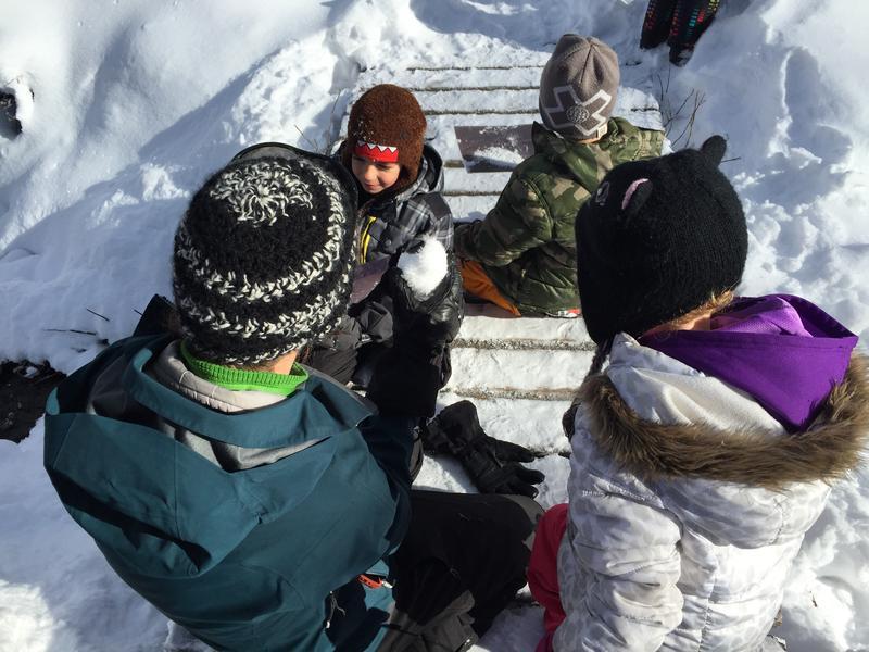 Educator Denali Barron, bottom left, talks with students during a Winter Explorer Snow Science class at Aspen Center for Environmental Studies.