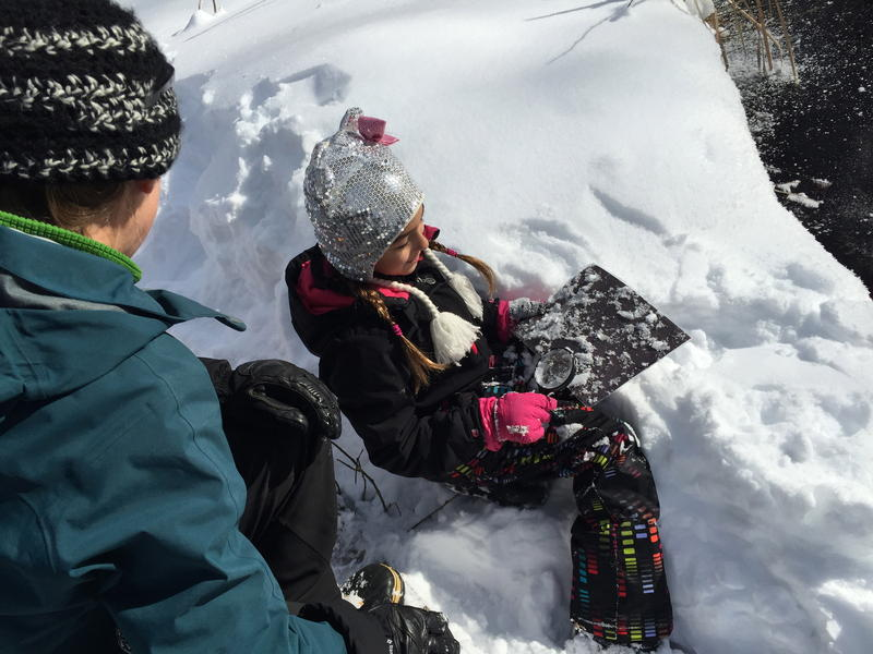 Eight-year-old Sofia describes what snow crystals look like under a magnifying glass.