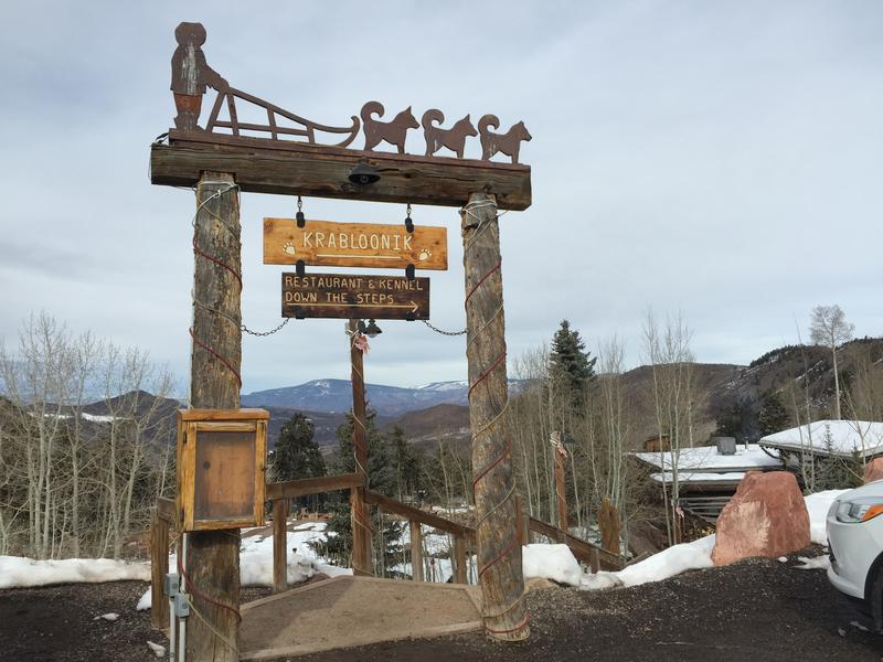 Entrance to Krabloonik Fine Dining and Dogsledding in Snowmass Village.