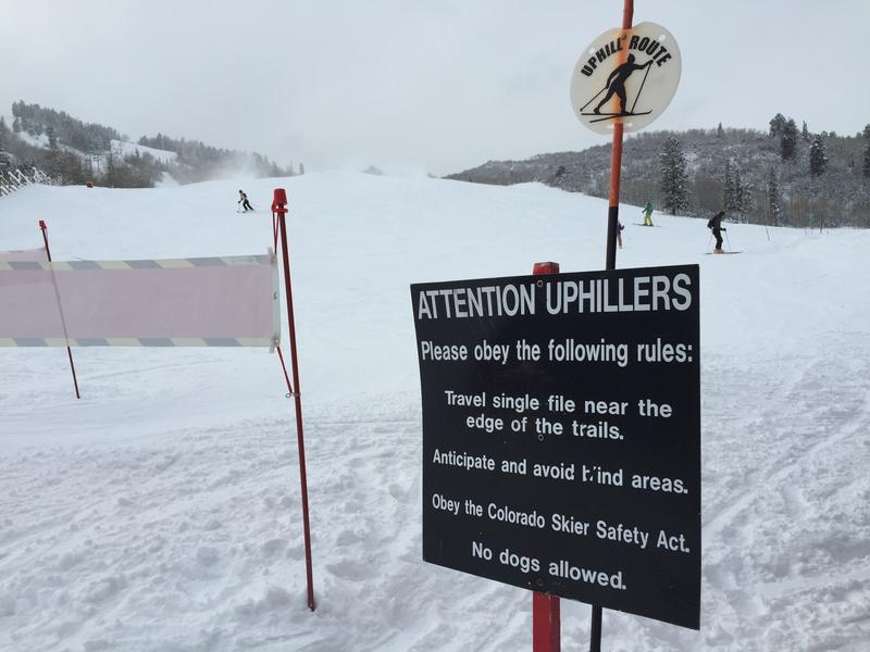 Signs guide uphillers at Tiehack.