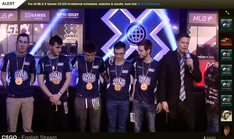 Team LDLC won the Major League Gaming X Games Aspen Counter-Strike: Global Offensive eSports competition. Players wear X Games gold medals, awarded with cash prizes.