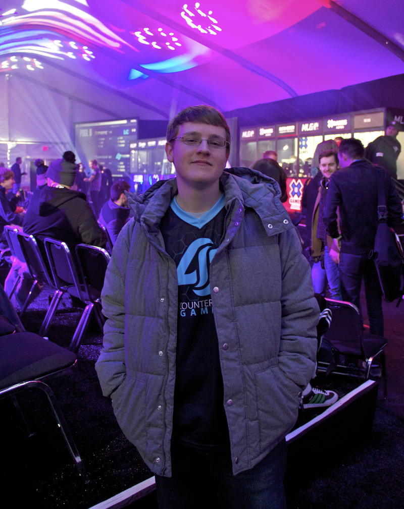 Florida resident and longtime gamer Peter Gurney before his first round of the weekend. Gurney plays for team Counter Logic Gaming, or CLG.