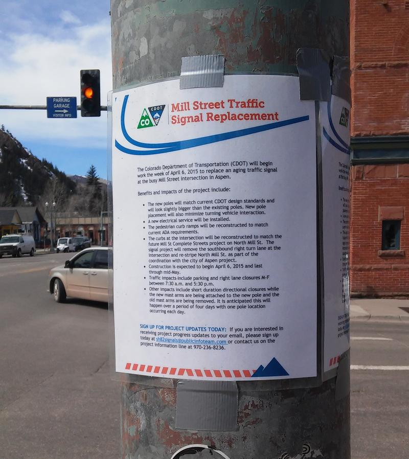 Notice of CDOT Mill Street Signal Work