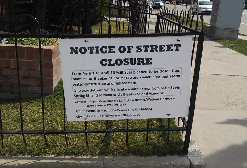 Notice of Mill Street Closure