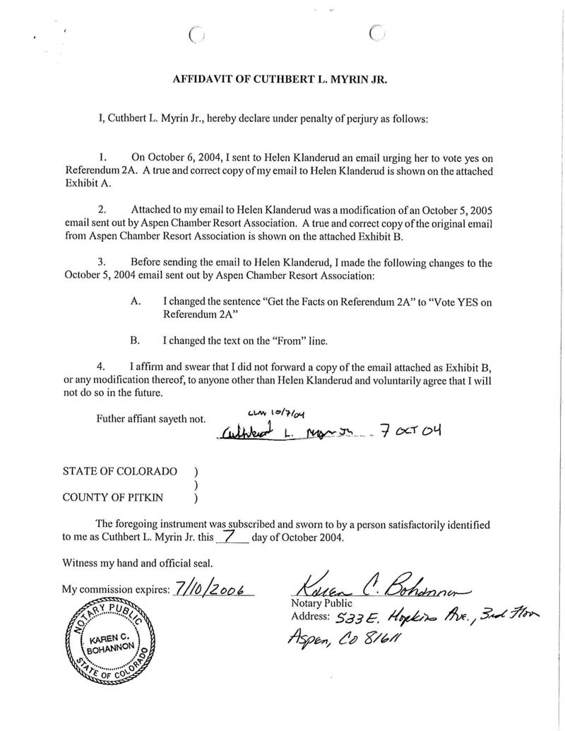 Affidavit signed by Myrin acknowleding the changed email from 2004.