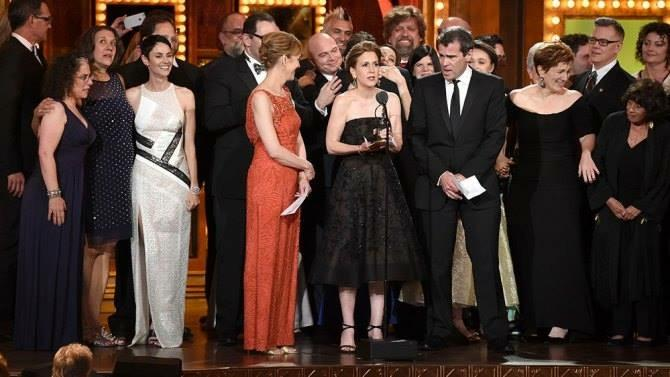 "The cast of ""Fun Home"" on stage at the Tony Awards to accept an award. The Broadway production received five awards, including Best Musical."