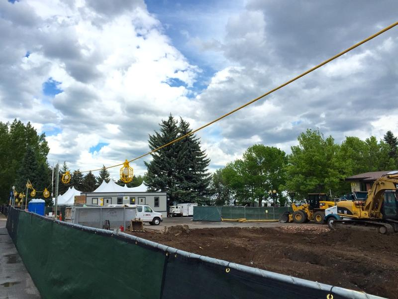 Construction at Rubey Park, next to the Grand Tasting tent.