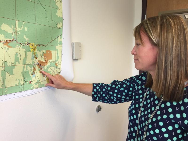 Garfield County Planning Manager Tamra Allen points to the proposed River Edge subdivision near Glenwood Springs.